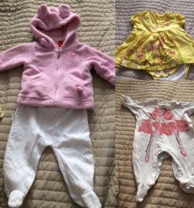 Вещи пакетом на девочку 0-4 месяцев
