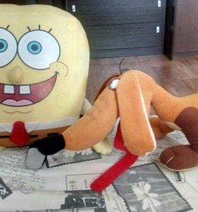 2 игрушки: весёлый губка Боб и смешная такса