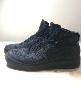 Nike Air Force 1 Mid Ultra Flyknit серо-черные.