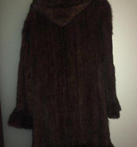 Вязанное пальто из норки
