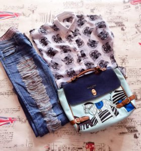 Блузка , джинсы , сумка