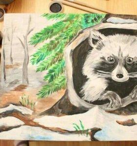 """Картина """"Енот в лесу"""""""