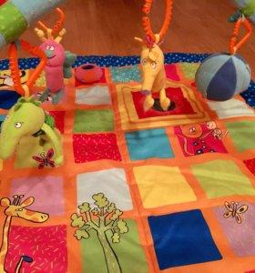 Развивающий коврик taf toys и мобиль tiny love