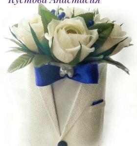 "Розы в шляпной коробке ""Джентльмен"" (мини)"