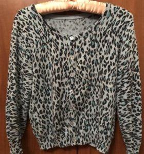 леопардовый кардиган с укороченными рукавами hm, M
