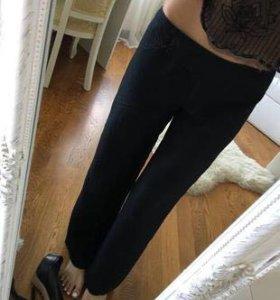 Льняные чёрные брюки клёш