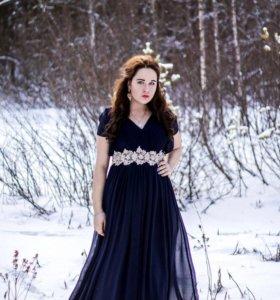 Платье длинное, синий цвет