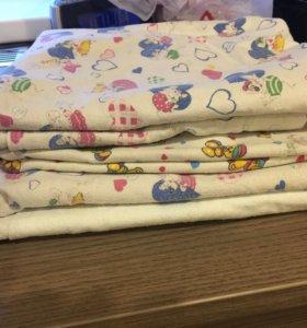 Детские пеленки и марлевые подгузники 5 шт.