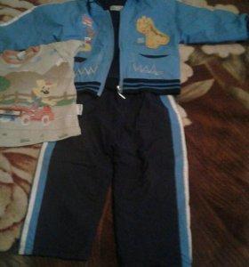 Утепленный детский костюм на байке, 1-2 года.