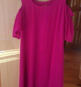 Малиновое шифоновое летнее платье. 42-44 р-р.