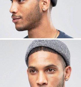 2 шапки бини (чёрная, серая кручёная пряжа)