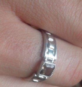кольцо серебреное и цепь