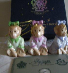 Елочные игрушки (3шт) Обезьянки,фарфор,Вербилки
