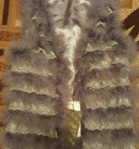 Жилет из страусиного пера