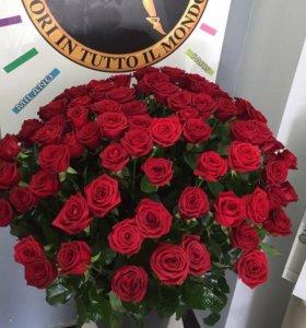 Розы 80 см белые красные оранжевые