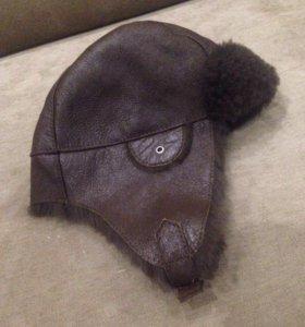Кожаная шапка-ушанка новая