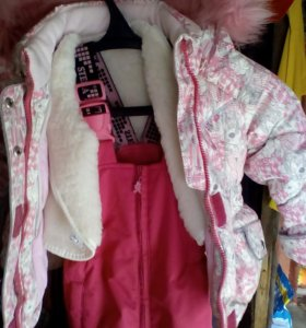 Куртка пуховик,подстежка меховая,брючки  на 2-2,5