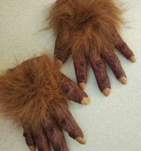 Перчатки на хэллоуин мохнатые