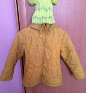 Продам демисезонную куртку с шапкой