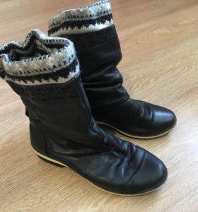 Женские сапожки кожаные зимние на меху 36