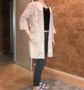 Легкое пальто накидка в стиле Шанель