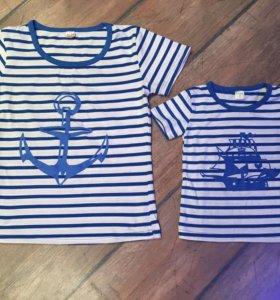 Морские футболки в стиле family look