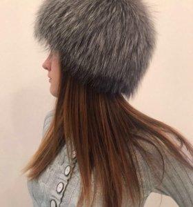 Новая шапка из чернобурки вязаная