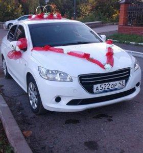 Украшение на свадебное авто красное новое