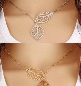 """Колье """"Листья осени"""" цвет золото и серебро"""