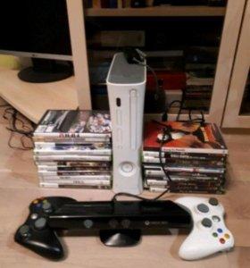 Xbox 360 + Kinect+ 2 джойстика+ 2 игры