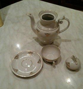 Чашка 2блюдца чайник