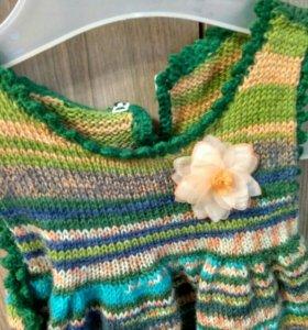 Платье вязаное ручной работы 80 размер