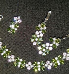Набор из серебра(браслет,серьги,кулончик)
