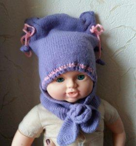 Шапка и шарф зимняя для малышки