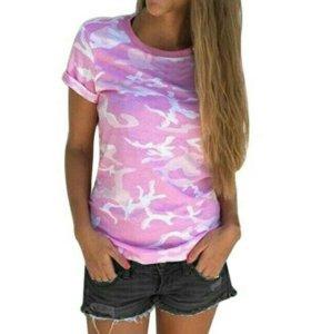 Розовая футболка цвета хаки
