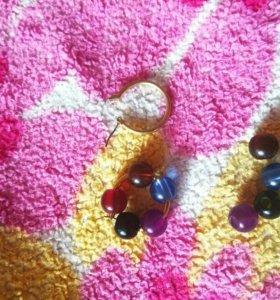 серьги-кольца со сменными бусинами пяти цветов