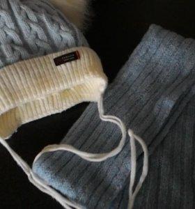 Шапка зимняя + шарф ручной вязки
