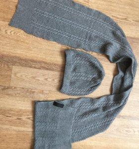Комплект: шапка, шарф PRADA оригинал