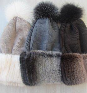 шапки с норковой нашивкой