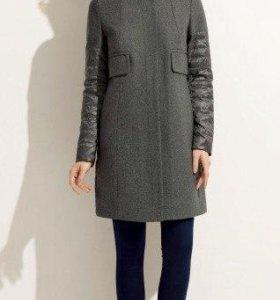 пальто комбинированное новое,серый 48 рр