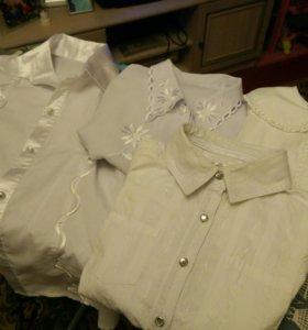 Блузки школьные на девочку, 6 штук