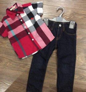 Рубашка Burberry ,джинсы hm для мальчика