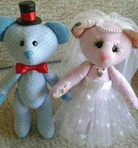 Свадебные мишки, ручной работы