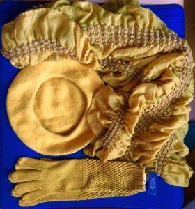 Берет,перчатки,шарф-комплект новый