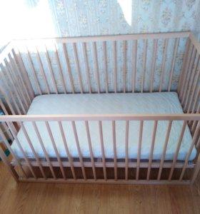 Детская кровать икея + матрац