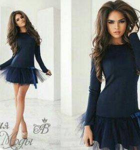 Платье трикотажное,снизу отделка фатин