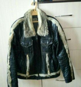 Куртка мужская (кожаный,воротник волчий мех)