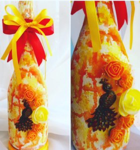 Подарки декупаж декор бутылок чайные домики