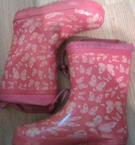 Резиновые сапоги на девочку, размер 34