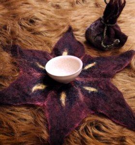 Войлочный мешочек для чайной пиалы. Hand made